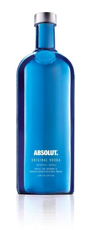Bouteille bleue Absolut Electrik edition limitee bleue