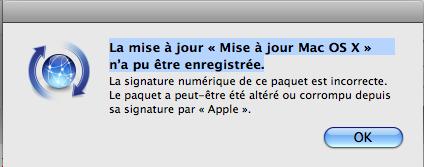 bug mac OS X signature numérique