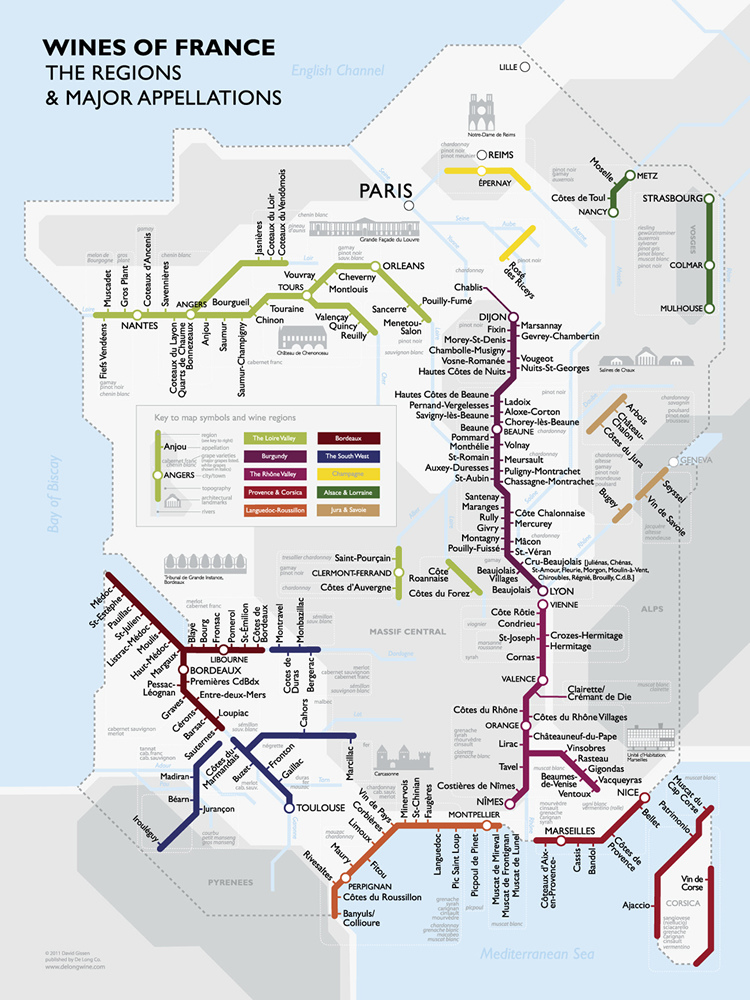 wine of france map