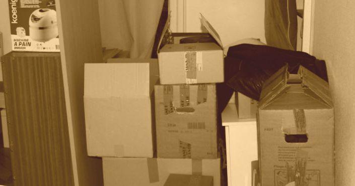 demenagement cartons sepia